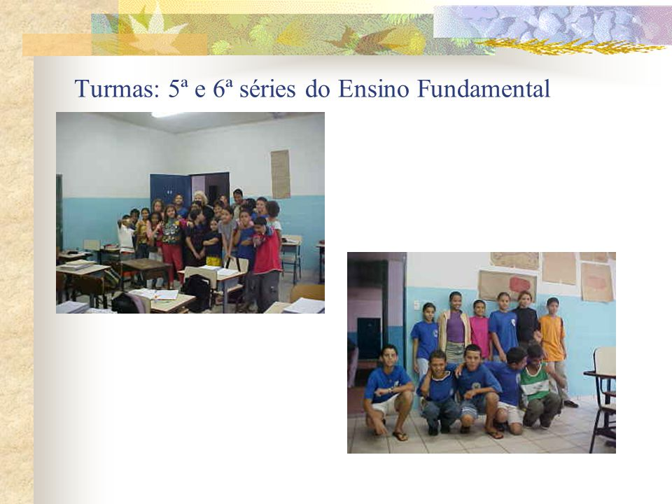 Turmas: 5ª e 6ª séries do Ensino Fundamental