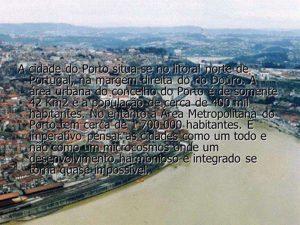 A cidade do Porto situa-se no litoral norte de Portugal, na margem direita do rio Douro.