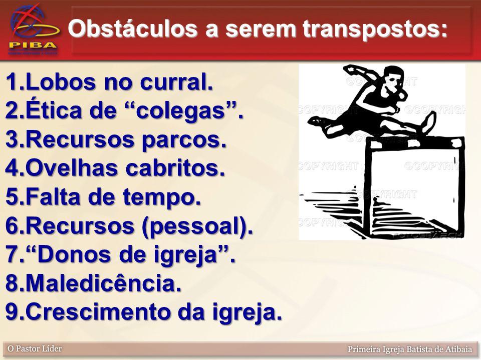 Obstáculos a serem transpostos: