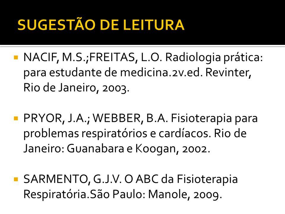 SUGESTÃO DE LEITURA NACIF, M.S.;FREITAS, L.O. Radiologia prática: para estudante de medicina.2v.ed. Revinter, Rio de Janeiro, 2003.