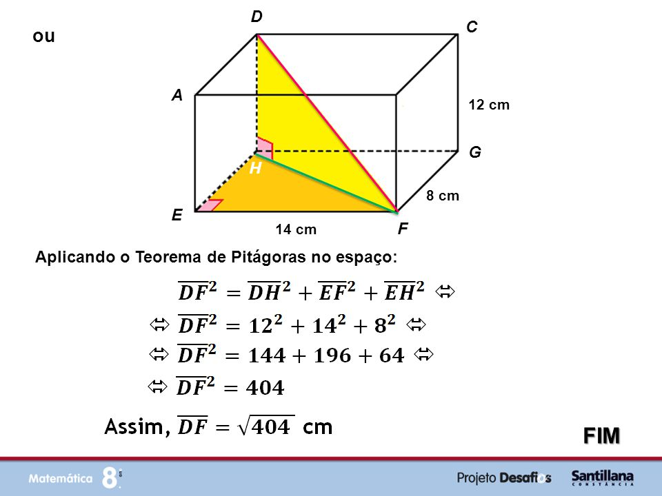 FIM ou D C A B G H E F Aplicando o Teorema de Pitágoras no espaço: