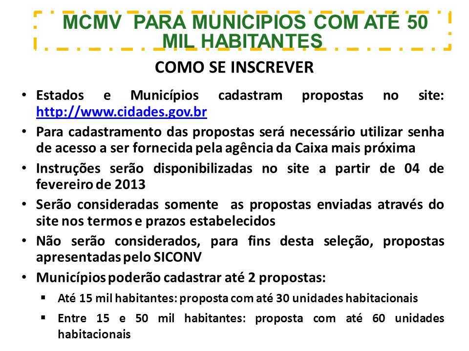 MCMV PARA MUNICIPIOS COM ATÉ 50 MIL HABITANTES