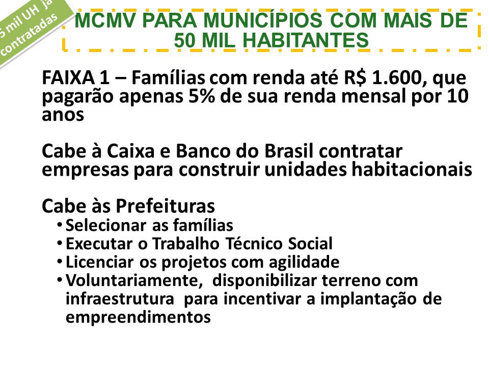 MCMV PARA MUNICÍPIOS COM MAIS DE 50 MIL HABITANTES