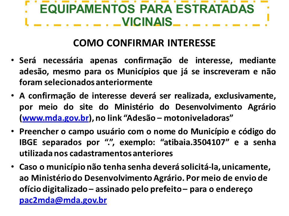 EQUIPAMENTOS PARA ESTRATADAS VICINAIS COMO CONFIRMAR INTERESSE