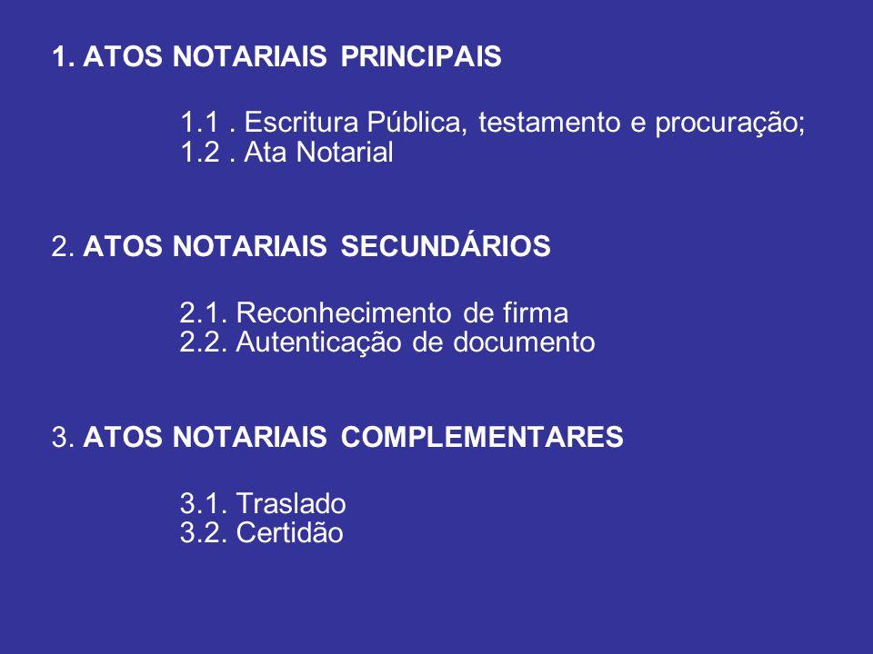 1. ATOS NOTARIAIS PRINCIPAIS