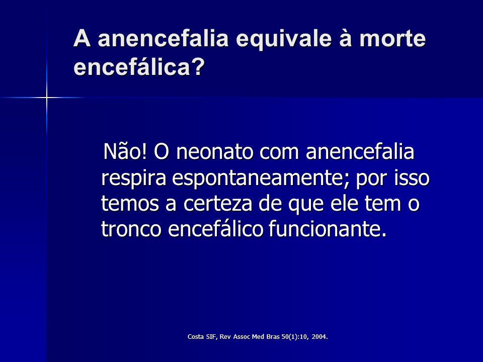A anencefalia equivale à morte encefálica