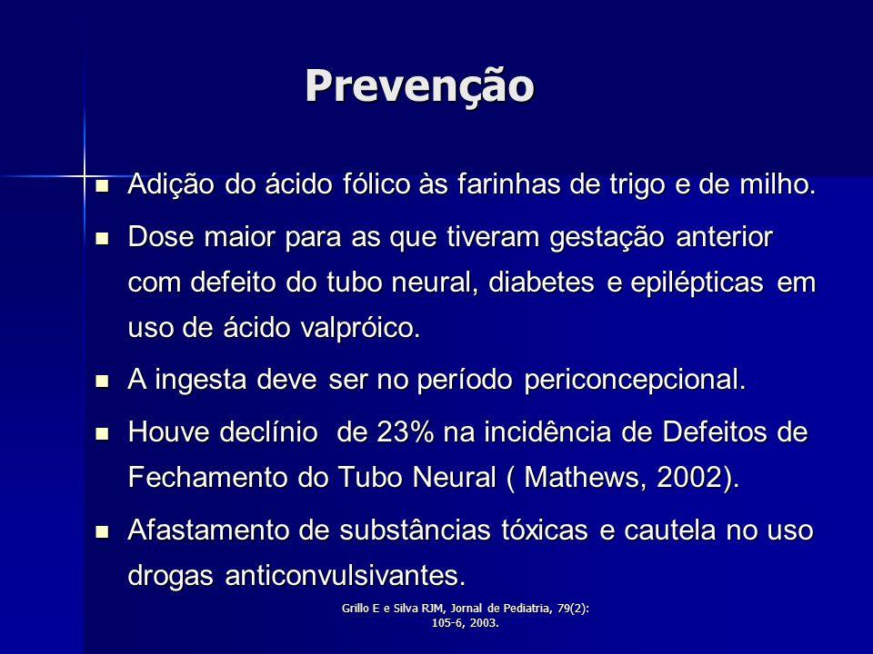 Grillo E e Silva RJM, Jornal de Pediatria, 79(2): 105-6, 2003.