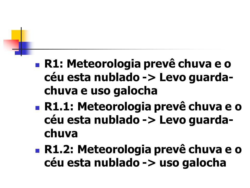 R1: Meteorologia prevê chuva e o céu esta nublado -> Levo guarda-chuva e uso galocha