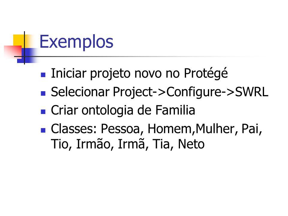 Exemplos Iniciar projeto novo no Protégé
