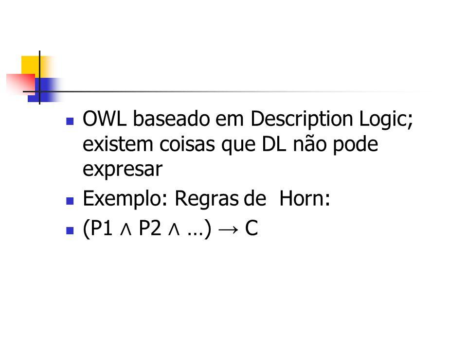 OWL baseado em Description Logic; existem coisas que DL não pode expresar