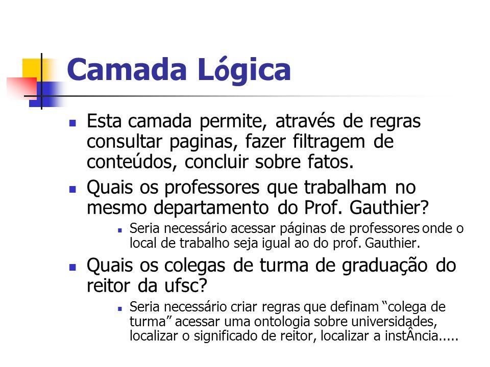 Camada Lógica Esta camada permite, através de regras consultar paginas, fazer filtragem de conteúdos, concluir sobre fatos.