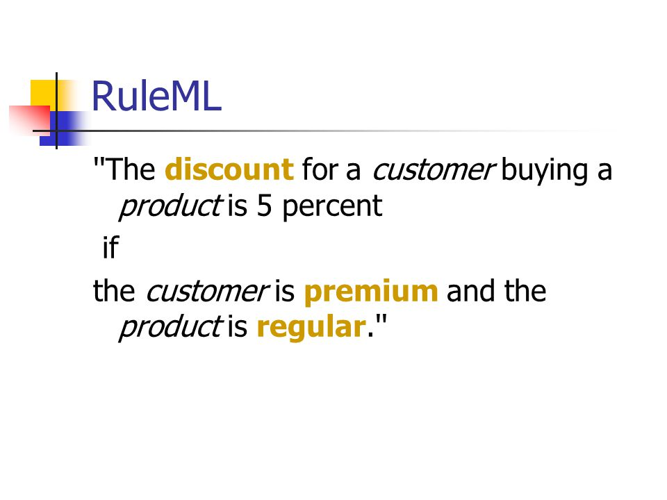 RuleML The discount for a customer buying a product is 5 percent if