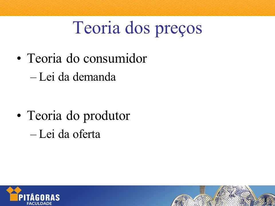 Teoria dos preços Teoria do consumidor Teoria do produtor