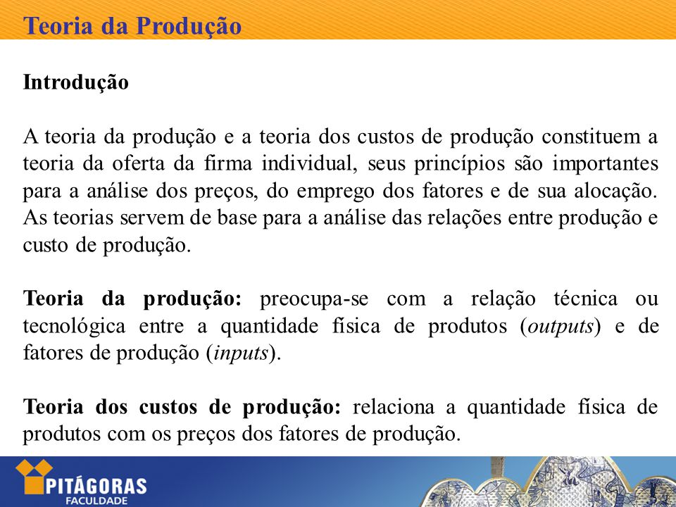Teoria da Produção Introdução