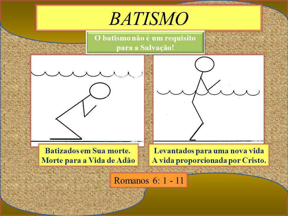 BATISMO Romanos 6: 1 - 11 Batizados em Sua morte.