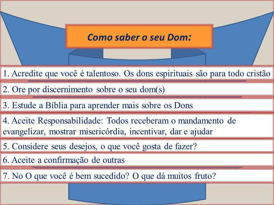 Como saber o seu Dom: 1. Acredite que você é talentoso. Os dons espirituais são para todo cristão. 2. Ore por discernimento sobre o seu dom(s)