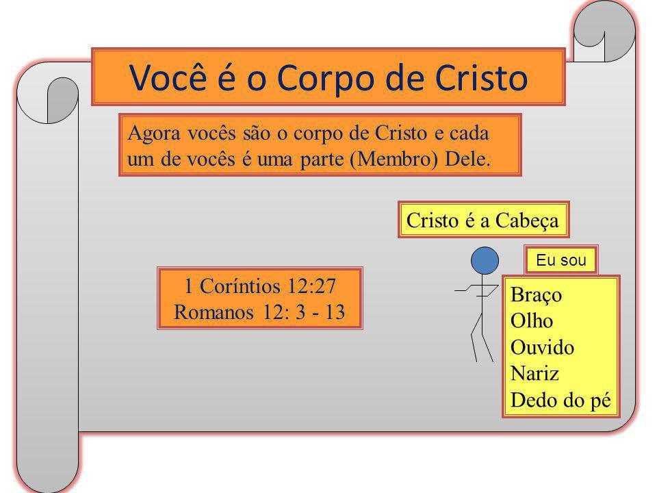 Você é o Corpo de Cristo Agora vocês são o corpo de Cristo e cada um de vocês é uma parte (Membro) Dele.
