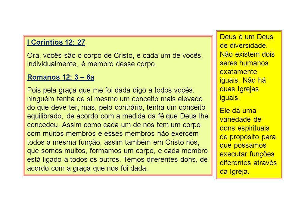 I Coríntios 12: 27 Ora, vocês são o corpo de Cristo, e cada um de vocês, individualmente, é membro desse corpo.