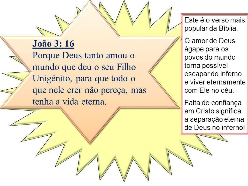 João 3: 16 Porque Deus tanto amou o mundo que deu o seu Filho Unigênito, para que todo o que nele crer não pereça, mas tenha a vida eterna.