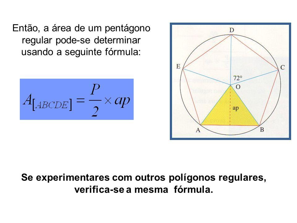 Se experimentares com outros polígonos regulares,