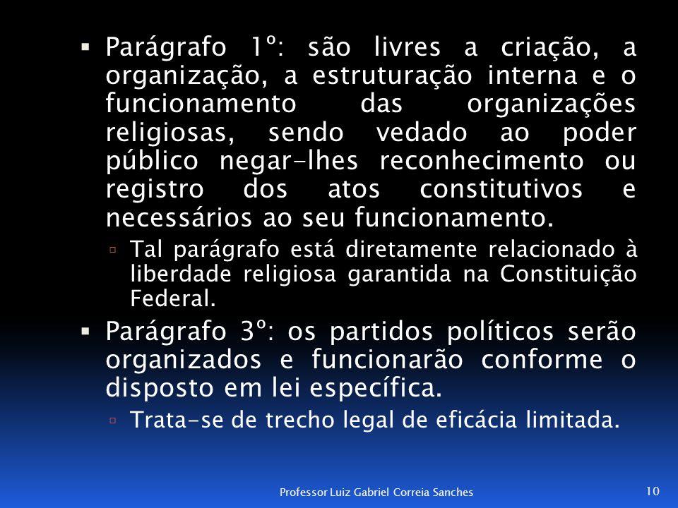 Parágrafo 1º: são livres a criação, a organização, a estruturação interna e o funcionamento das organizações religiosas, sendo vedado ao poder público negar-lhes reconhecimento ou registro dos atos constitutivos e necessários ao seu funcionamento.