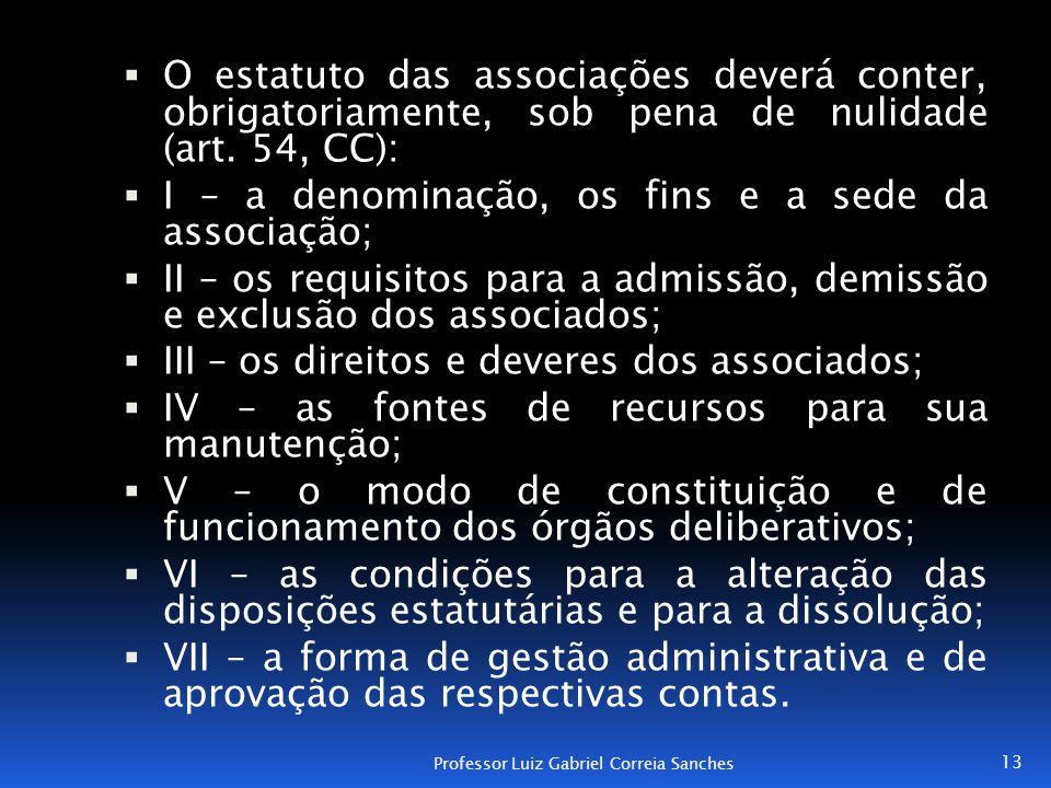 I – a denominação, os fins e a sede da associação;