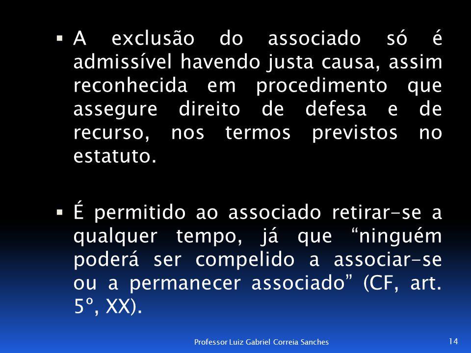 A exclusão do associado só é admissível havendo justa causa, assim reconhecida em procedimento que assegure direito de defesa e de recurso, nos termos previstos no estatuto.