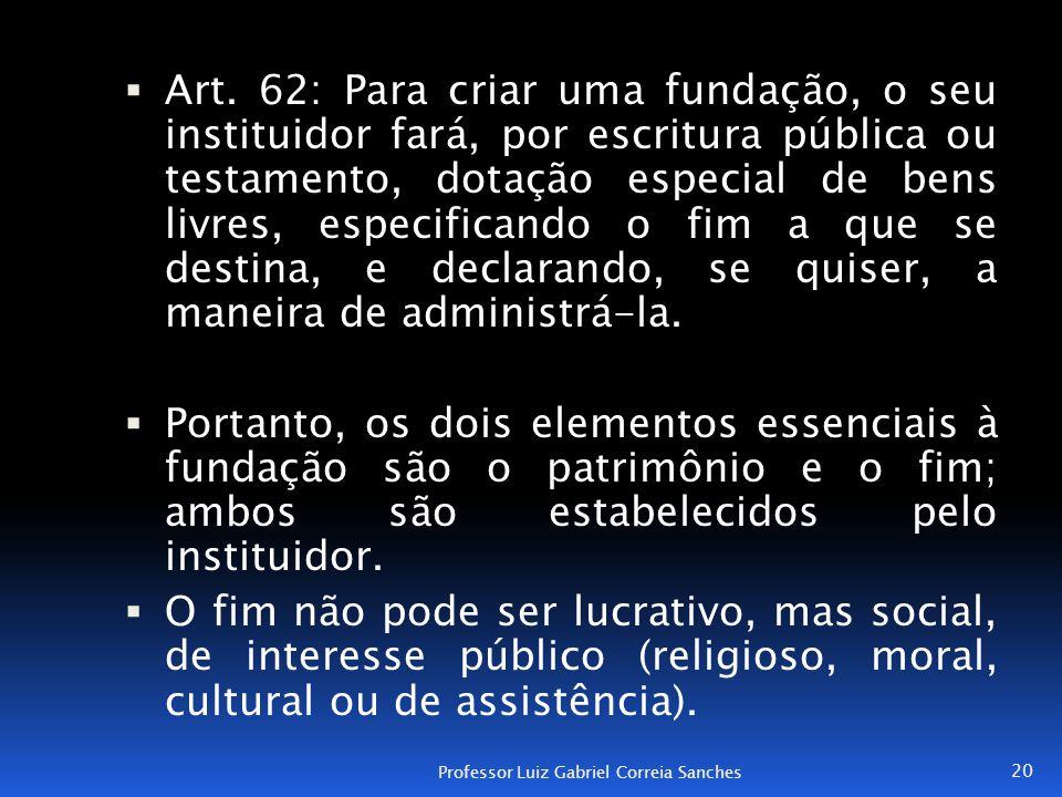 Art. 62: Para criar uma fundação, o seu instituidor fará, por escritura pública ou testamento, dotação especial de bens livres, especificando o fim a que se destina, e declarando, se quiser, a maneira de administrá-la.
