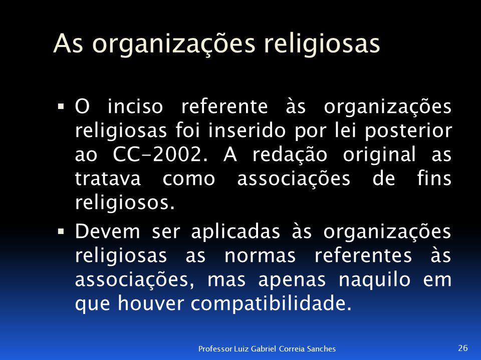 As organizações religiosas