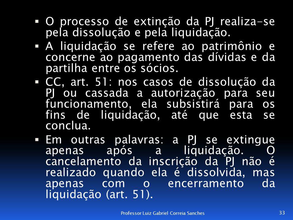 O processo de extinção da PJ realiza-se pela dissolução e pela liquidação.