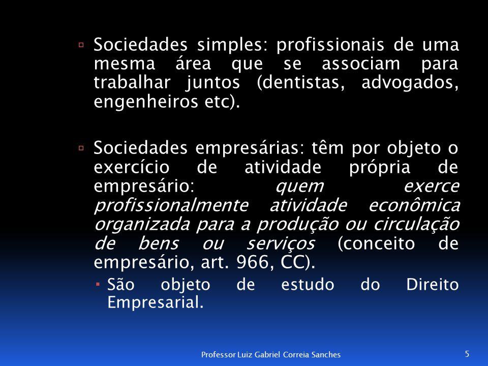 Sociedades simples: profissionais de uma mesma área que se associam para trabalhar juntos (dentistas, advogados, engenheiros etc).