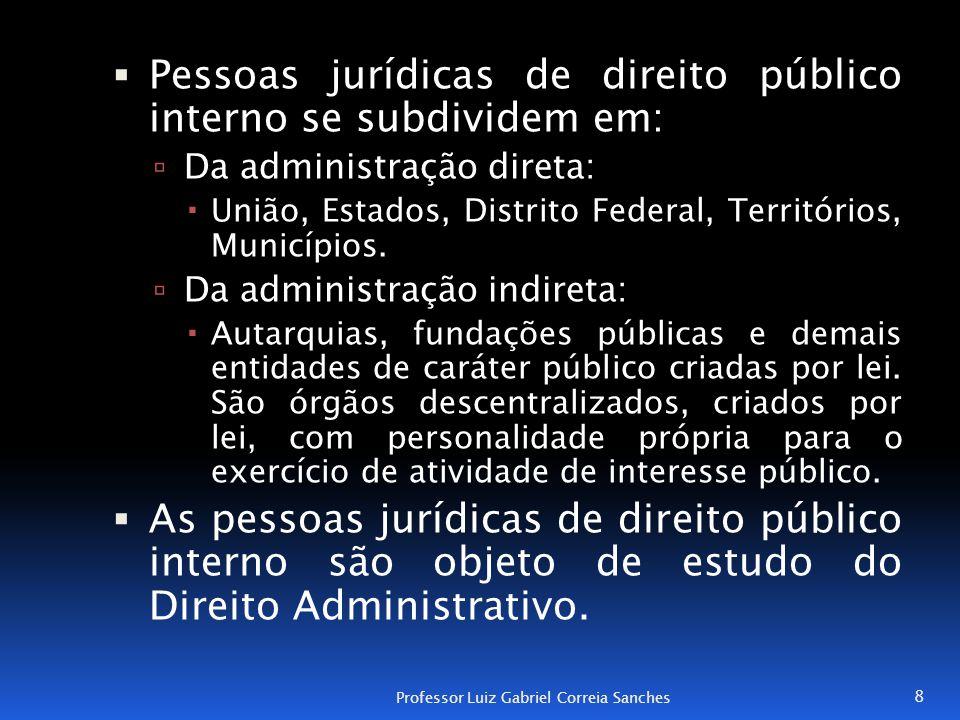 Pessoas jurídicas de direito público interno se subdividem em: