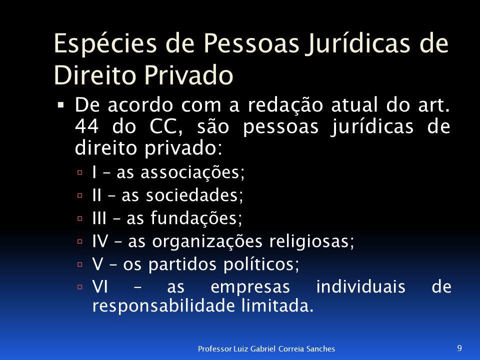 Espécies de Pessoas Jurídicas de Direito Privado