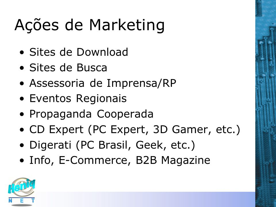 Ações de Marketing Sites de Download Sites de Busca