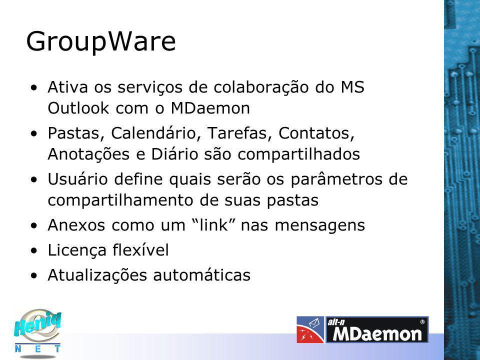 GroupWare Ativa os serviços de colaboração do MS Outlook com o MDaemon