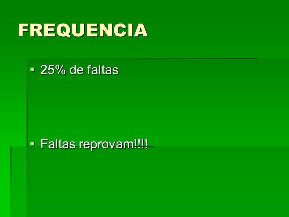 FREQUENCIA 25% de faltas Faltas reprovam!!!!
