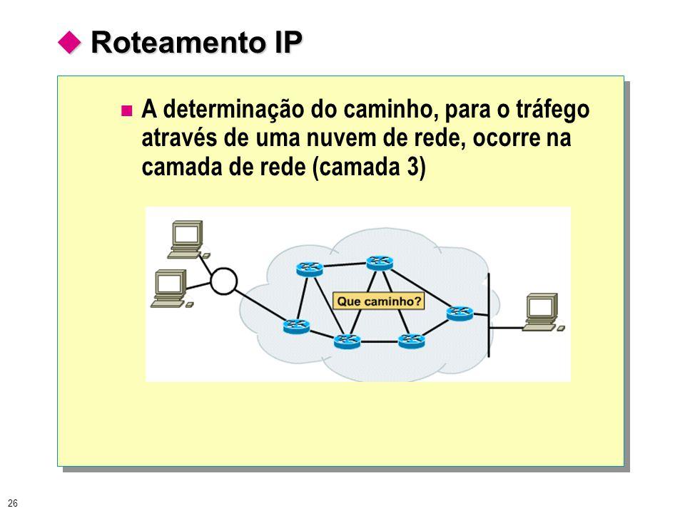  Roteamento IP A determinação do caminho, para o tráfego através de uma nuvem de rede, ocorre na camada de rede (camada 3)