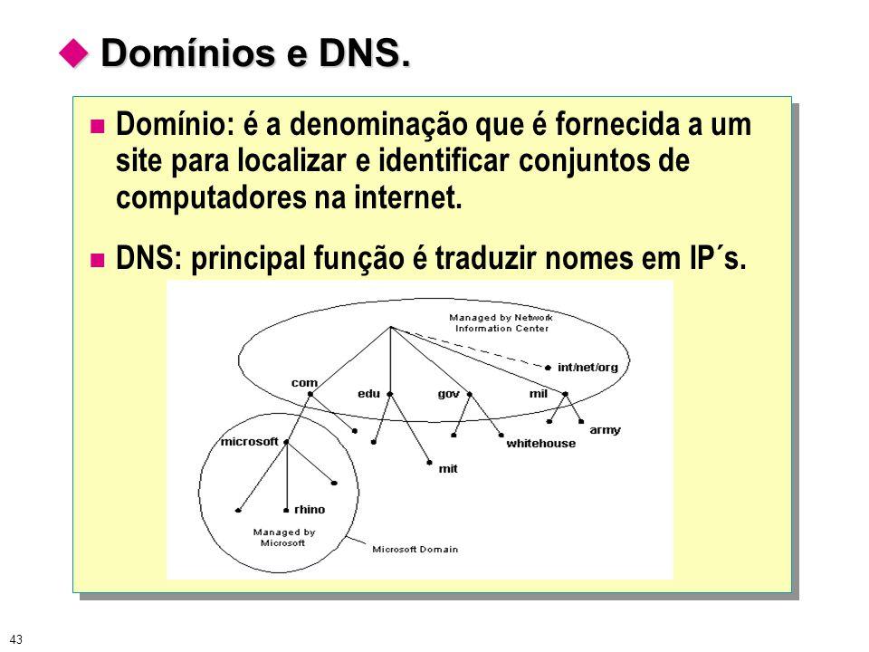  Domínios e DNS. Domínio: é a denominação que é fornecida a um site para localizar e identificar conjuntos de computadores na internet.