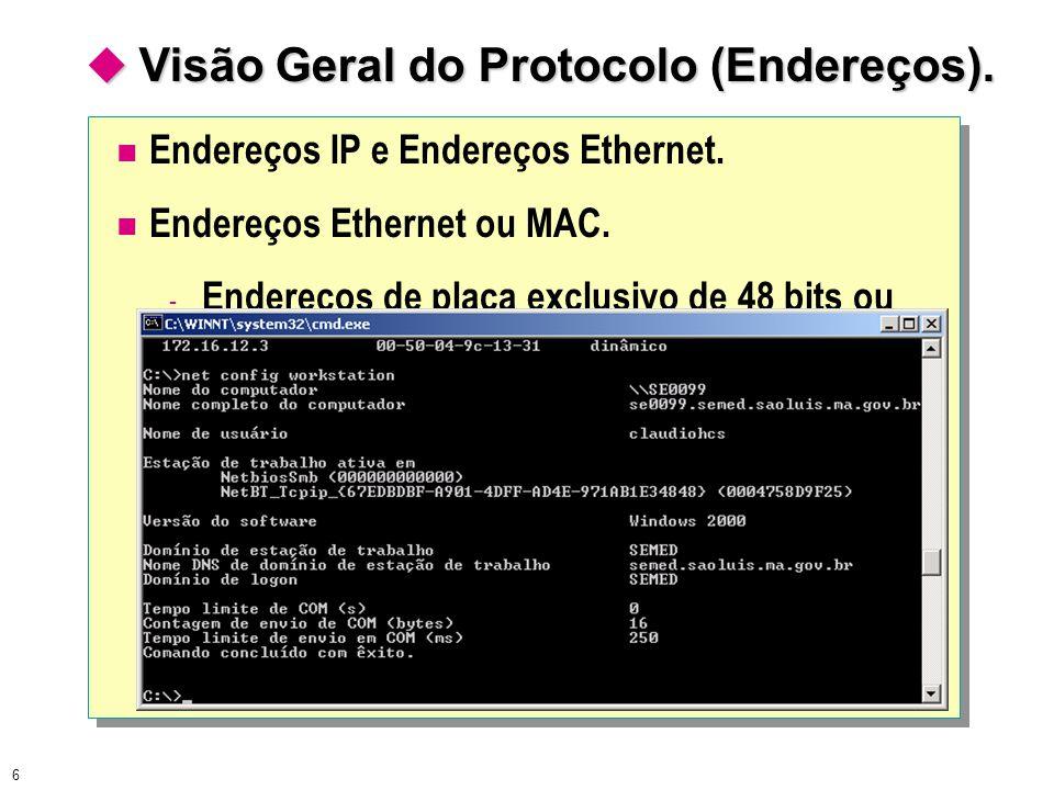  Visão Geral do Protocolo (Endereços).