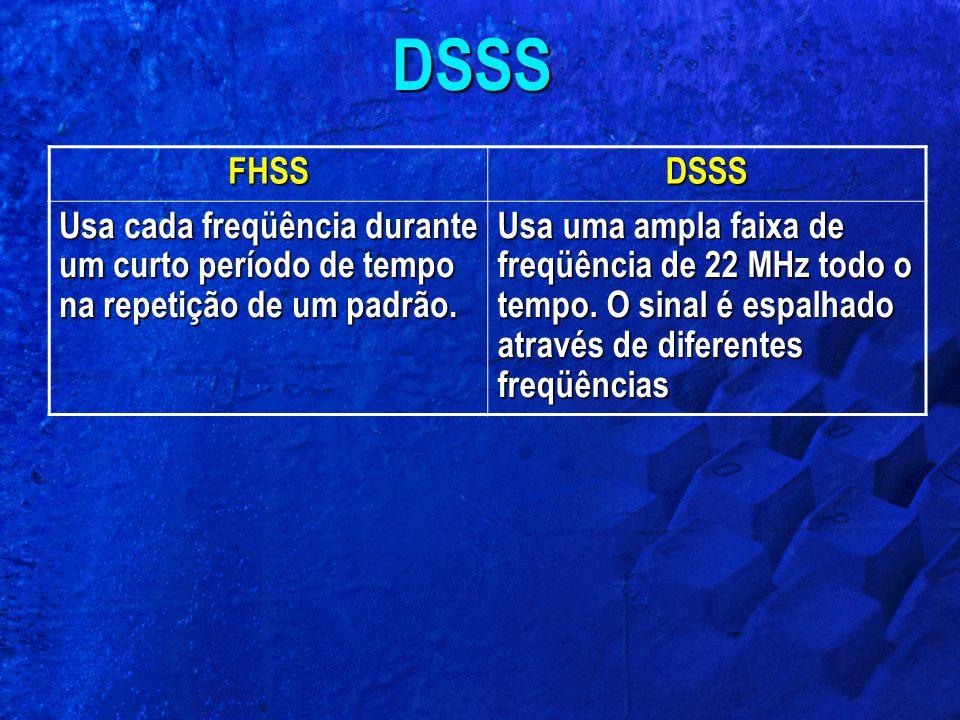 DSSS FHSS. DSSS. Usa cada freqüência durante um curto período de tempo na repetição de um padrão.