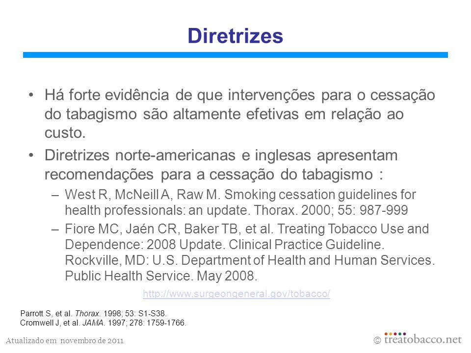 Diretrizes Há forte evidência de que intervenções para o cessação do tabagismo são altamente efetivas em relação ao custo.