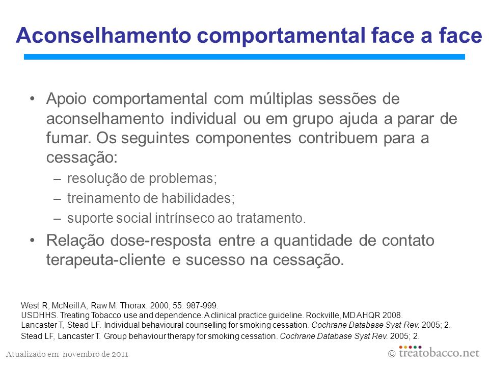 Aconselhamento comportamental face a face
