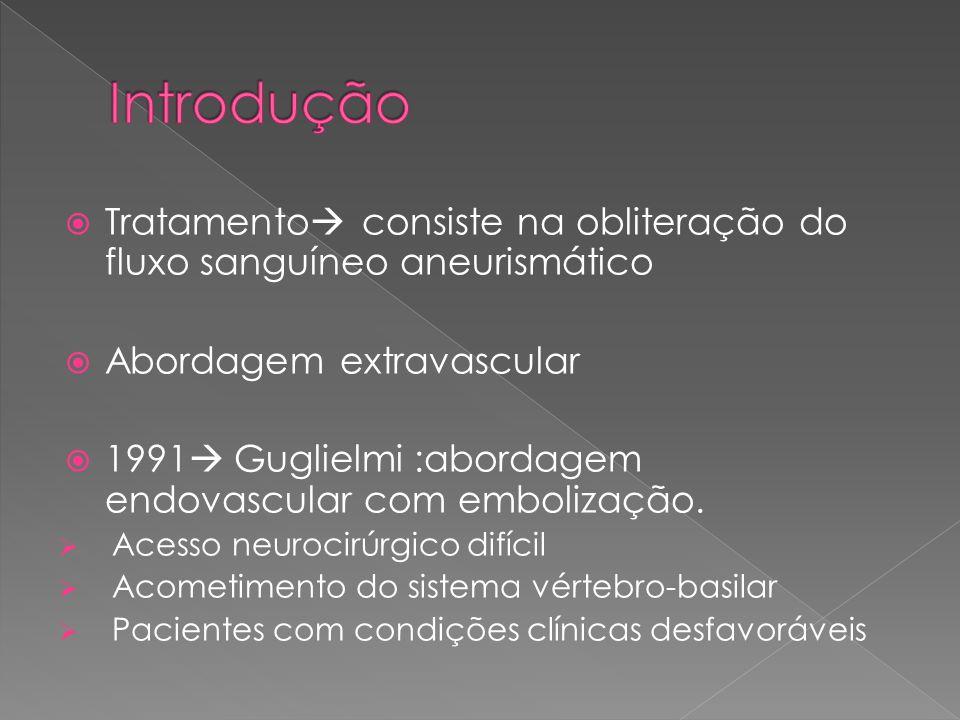 Introdução Tratamento consiste na obliteração do fluxo sanguíneo aneurismático. Abordagem extravascular.