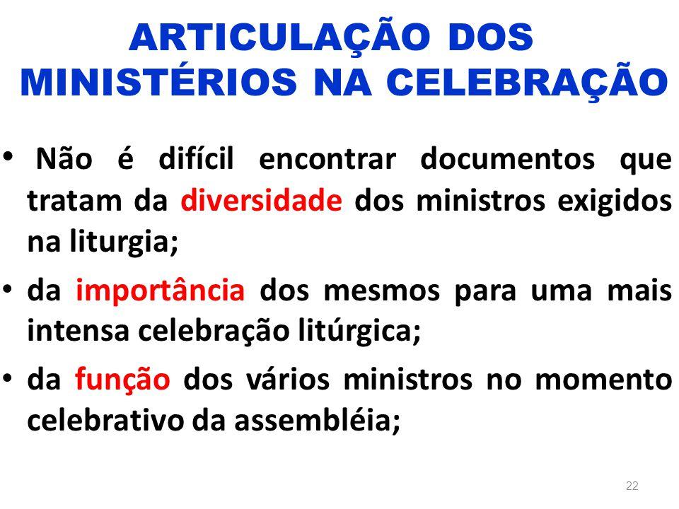ARTICULAÇÃO DOS MINISTÉRIOS NA CELEBRAÇÃO