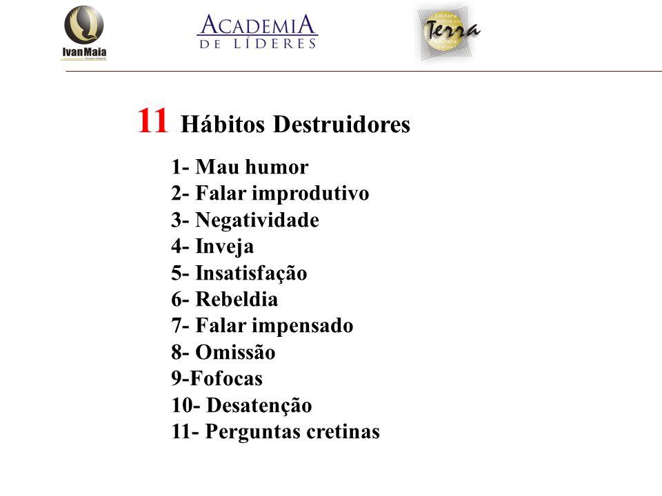 11 Hábitos Destruidores 1- Mau humor 2- Falar improdutivo
