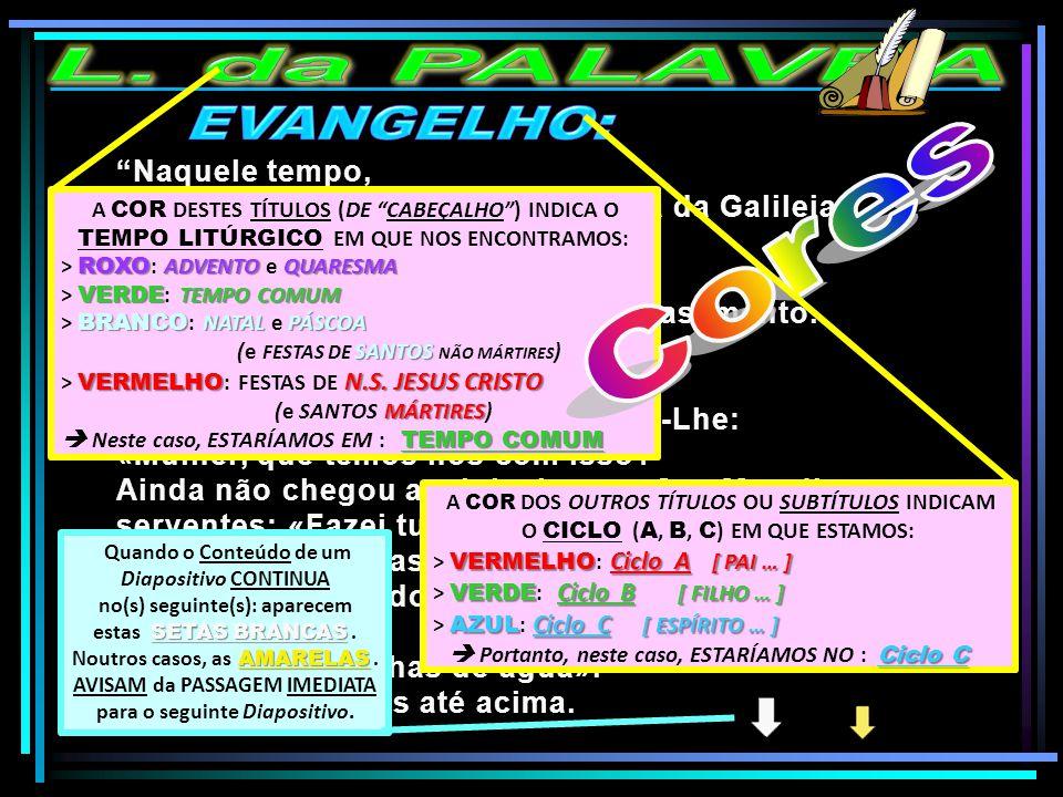 L. da PALAVRA EVANGELHO: Cores Naquele tempo,