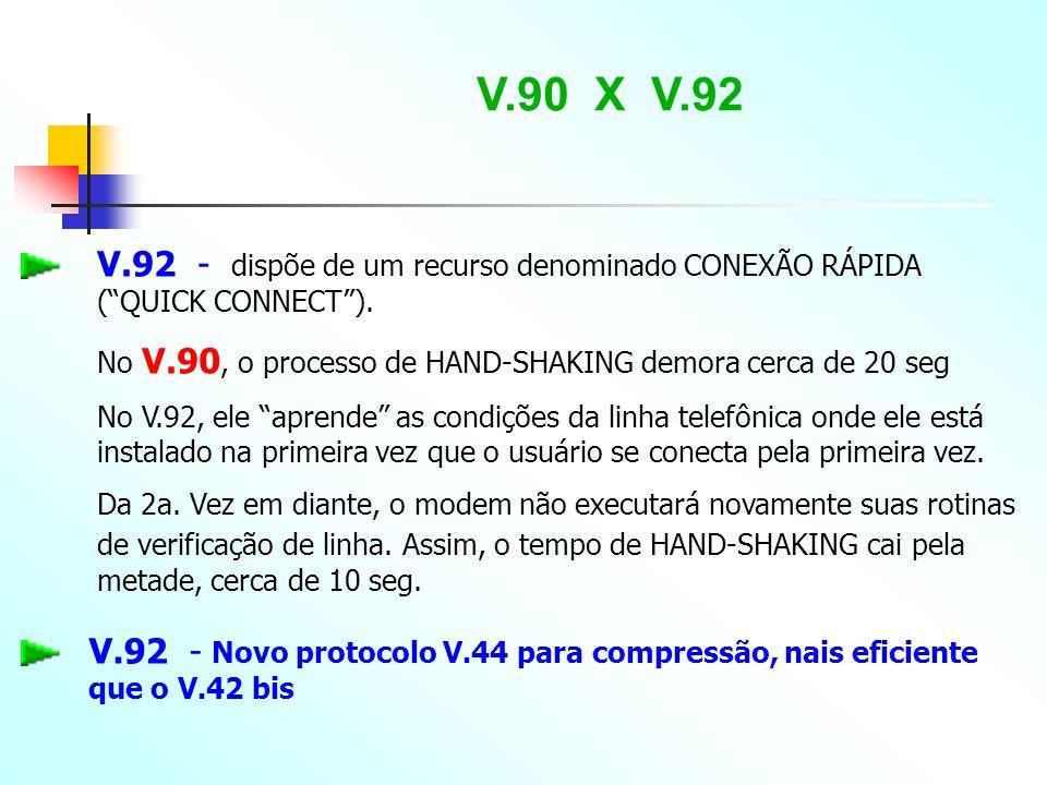 V.90 X V.92 V.92 - dispõe de um recurso denominado CONEXÃO RÁPIDA ( QUICK CONNECT ). No V.90, o processo de HAND-SHAKING demora cerca de 20 seg.