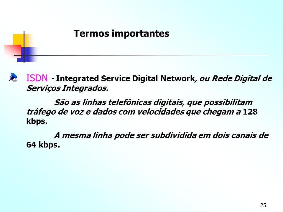 Termos importantes ISDN - Integrated Service Digital Network, ou Rede Digital de Serviços Integrados.