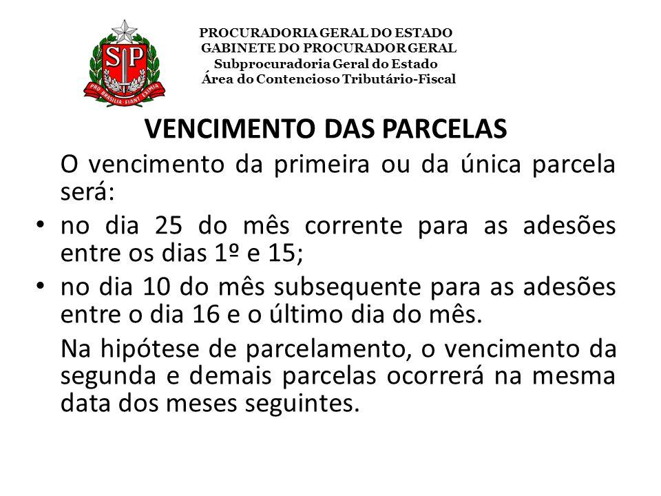 VENCIMENTO DAS PARCELAS