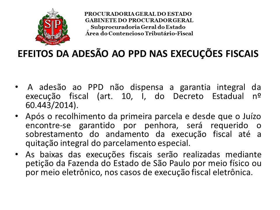 EFEITOS DA ADESÃO AO PPD NAS EXECUÇÕES FISCAIS